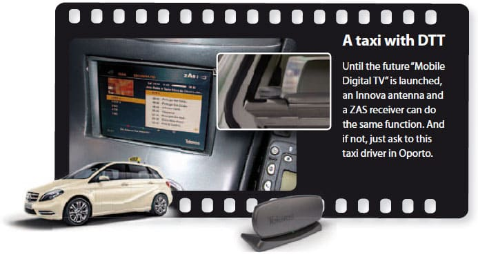"""A taxi with DTT - Until the future """"Mobile Digital TV"""" is launched, an Innova antenna and a ZAS receiver can do the same function. And if not, just ask to this taxi driver in Oporto"""
