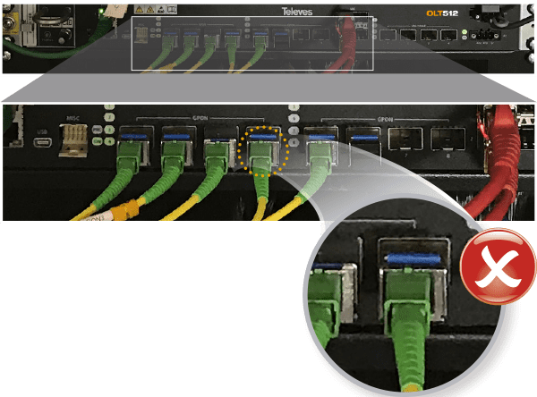 Incorrect installation of patch cords using SC/APC connectors (green) in SFP