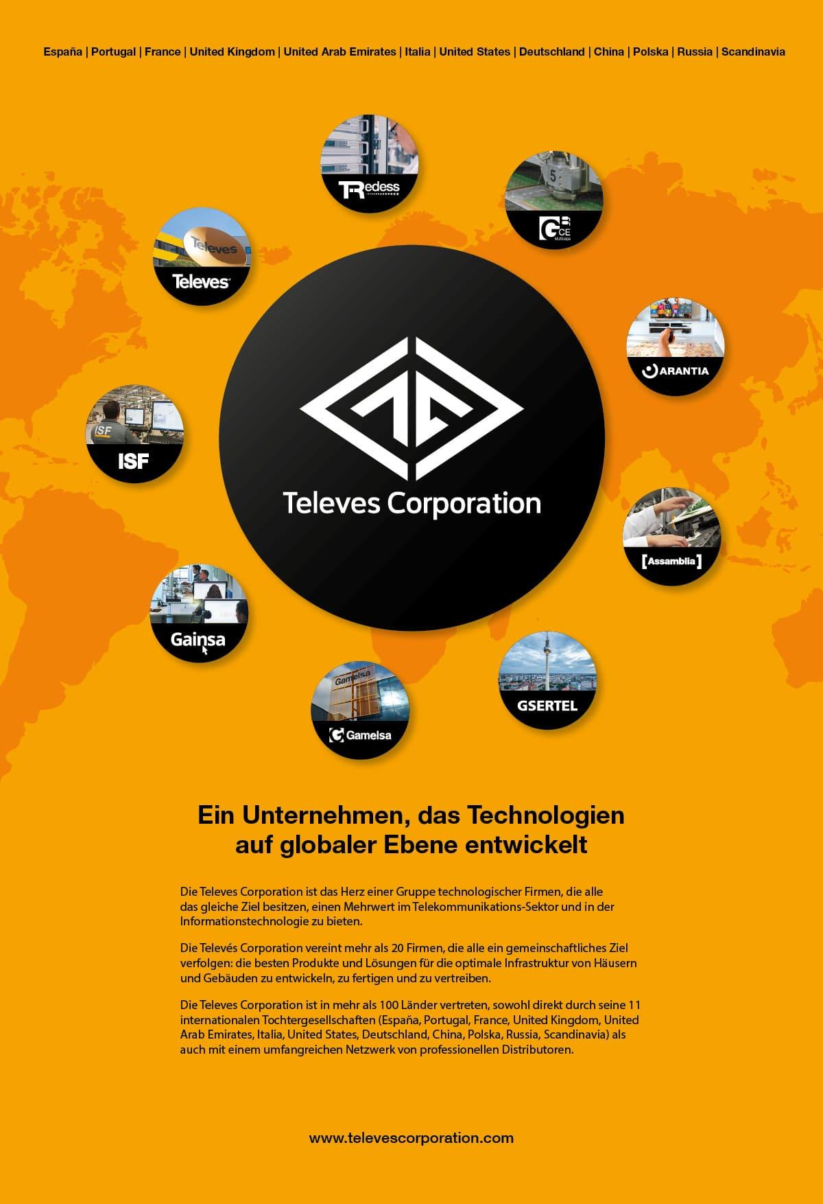 Televes Corporation, Ein Unternehmen, das Technologien auf globaler Ebene entwickelt